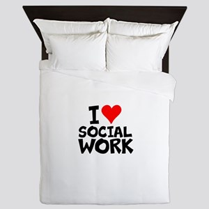 I Love Social Work Queen Duvet